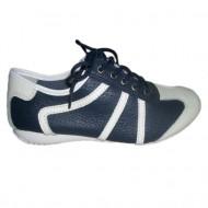 Adidas din piele cu perforatii, de culoare bleumarin, cu talpa joasa