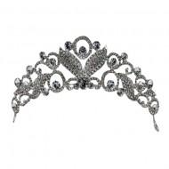 Agrafa eleganta tip coronita, din metal argintiu cu strasuri