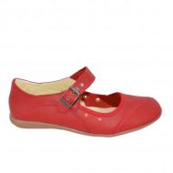 Balerini, din piele naturala, de culoare rosie, cu talpa joasa, confortabila