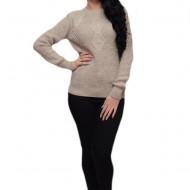 Bluza bite tricotata, nuanta de bej, cu design clasic-elegant