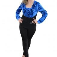 Bluza casual-elegant, din saten albastru si material fin negru