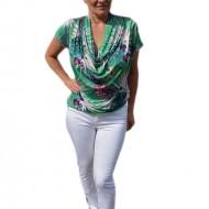 Bluza casual , nuanta de turcoaz cu imprimeu multicolor
