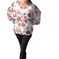 Bluza casual Vivien cu imprimeu flower pe fond alb