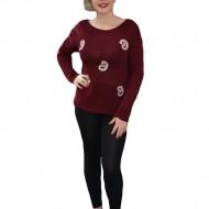 Bluza clasica din material tricotat marsala, cu decolteu mic