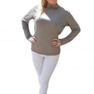 Bluza cu maneca lunga, guler fashion, nuanta de bej, fara model