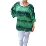 Bluza dama Diana ,croi lejer cu imprimeu painted ,nuanta de verde