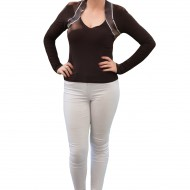 Bluza de ocazie, de culoare maro, model simplist, cu strasuri
