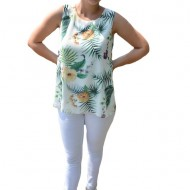 Bluza de vara tip maiou,Florice, imprimeu exotic-flower, nuanta de alb