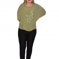 Bluza eleganta cu aplicatii deosebite Dakota,nuanta de kaki