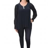 Bluza eleganta cu maneca lunga, din voal negru cu model plisat