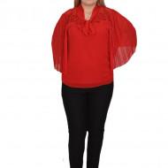 Bluza eleganta Genna din voal cu insertii fine de margele si broderie,rosu