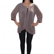 Bluza eleganta in nuante de maro, din material elastic si voal