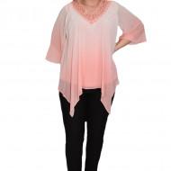 Bluza eleganta Yada cu aplicatii de margele ,nuanta de rosu
