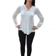 Bluza feminina de ocazie, culoare alba, maneca lunga, fronsata