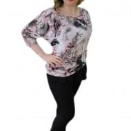 Bluza frumoasa, de zi cu imprimeu de flori, nuanta de plamaniu