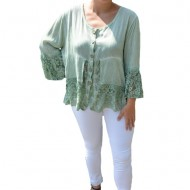 Bluza lejera Carina cu insertii de dantela,nuanta de verde inchis