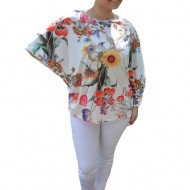 Bluza lejera Emilia ,imprimeu floral,motive sun flower,pe fond alb