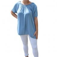 Bluza lejera Sidonia cu broderie in spate,nuanta de albastru