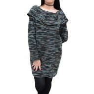 Bluza lunga, confortabila, de toamna-iarna, cu dungi negru-maro