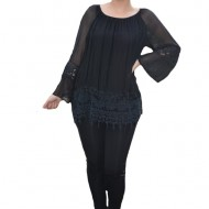 Bluza moderna Kara cu insertii de broderie si dantela ,nuanta de negru