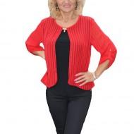 Bluza moderna, rosie, cu dungi verticale si lungime asimetrica