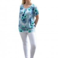 Bluza moderna tip tunica, masura mare, nuanta bleumarin-turcoaz