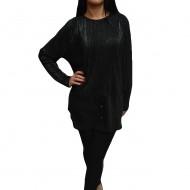Bluza rafinata de culoare neagra cu fir argintiu, model elegant