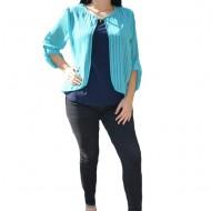Bluza tinereasca in nuante de albastru cu design de dungi subtiri