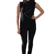 Bluza trendy cu volan in fata, model casual in nuanta de negru