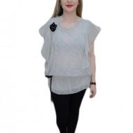 Bluza trendy din voal, nuanta alba cu buline negre si elastic