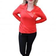 Bluze de ocazie, accesorizate cu o brosa, rosii, maro