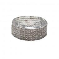 Bratara eleganta, cu constructie elastica, nuanta argintie cu cristale