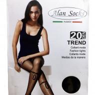 Ciorap pantalon de 20 DEN, nuanta de negru cu model de buline