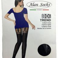 Ciorap trendy in nuanta de negru cu model chic la spate