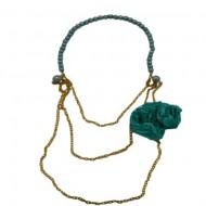 Colier fashion,lant auriu cu margele si design cu franjuri roz,floare verde,portocaliu-bleumarin