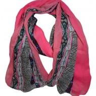 Esarfa fashion de culoare roz cu dungi colorate, late, pe margini