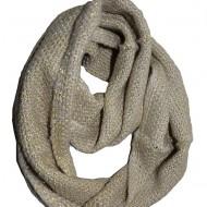 Esarfa rafinata, tricotata, crem cu fir auriu lucios, forma circulara