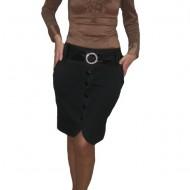 Fusta eleganta, neagra, cu design petrecut, accesorizata cu nasturi