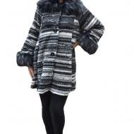 Jacheta Alfa tricotata cu insertii de blanita ,nuanat de negru-gri
