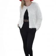 Jacheta eleganta tip bolero, de culoare alba, model scurt in talie