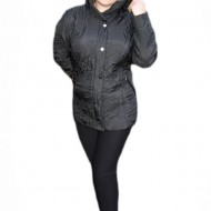 Jacheta neagra din fas cu guler rotund si gluga detasabila
