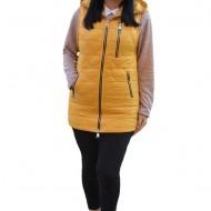 Jacheta tip vesta Denise cu model asimetric, 3d-heart ,nuanta de galben