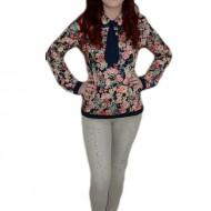 Jeans tineresc, nuanta de bej, cu strasuri aplicate, masuri mici
