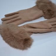 Manusi Touchscreen de toamna-iarna, culoare bej, cu blanita