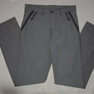 Pantalon barbati casual, de culoare gri cu dungi subtiri verticale