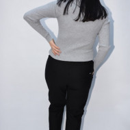 Pantalon casual Jeniffer cu model pe picior ,negru
