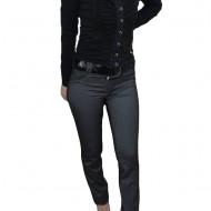 Pantalon cu design dungat, nuanta de gri, inchidere cu fermoar