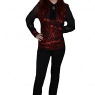 Pantalon fin, de culoare neagra, design rafinat de nasturi aplicati
