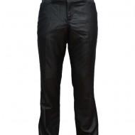 Pantalon la dunga, de culoare gri, din material cu aspect lucios