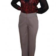 Pantalon lung, de nuanta bej, cu un croi usor combrat si design cusaturi